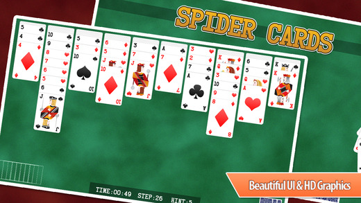 Spider Solitaire Original - Standard classic card puzzle on board