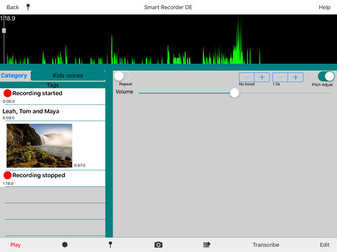 Smart Recorder DE Classic for iPad - The music and voice recording app Screenshots