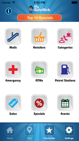MySidekick – Find Shops Malls Specials Sales Competitions Coupons Events ATMs Petrol Stations SOS Nu