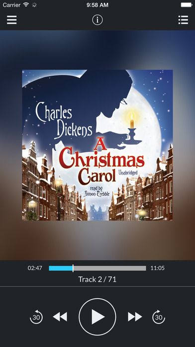 A Christmas Carol (by Charles Dickens) (UNABRIDGED AUDIOBOOK) : Blackstone Audio Apps : Folium Edition iPhone Screenshot 1