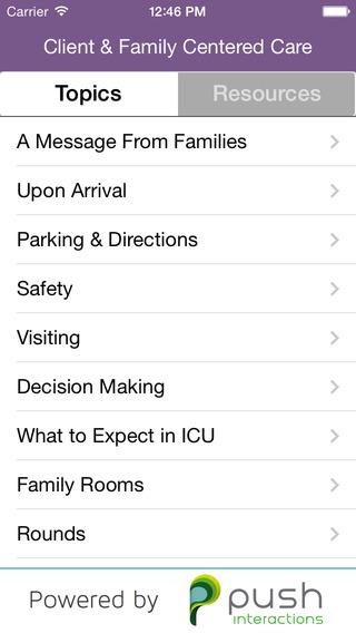 Saskatoon Health Region Patient and Family Critical Care App