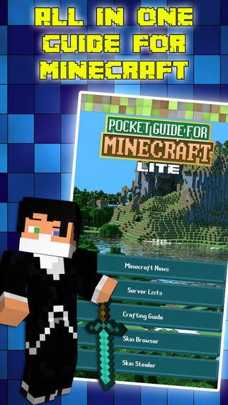 Pocket Guide for Minecraft Lite - Recipes Servers Custom Skins Tips and News