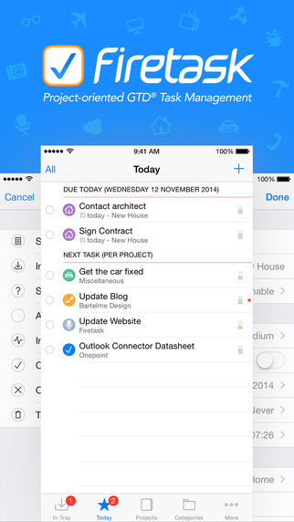 Firetask - Project-oriented GTD Task Management for iPhone Apps free for iPhone/iPad screenshot