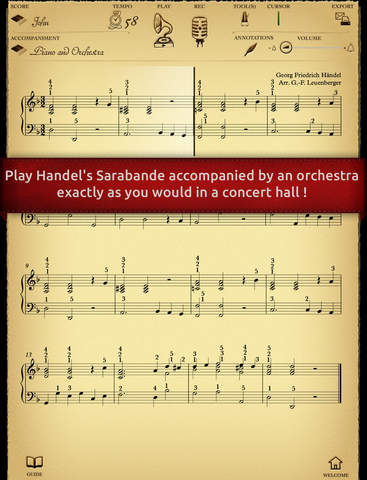 Play Handel – Sarabande interactive piano sheet music