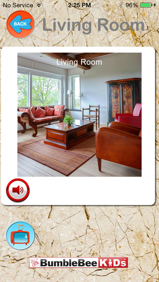 Words Around the House - Living Room Video Flashcard Player