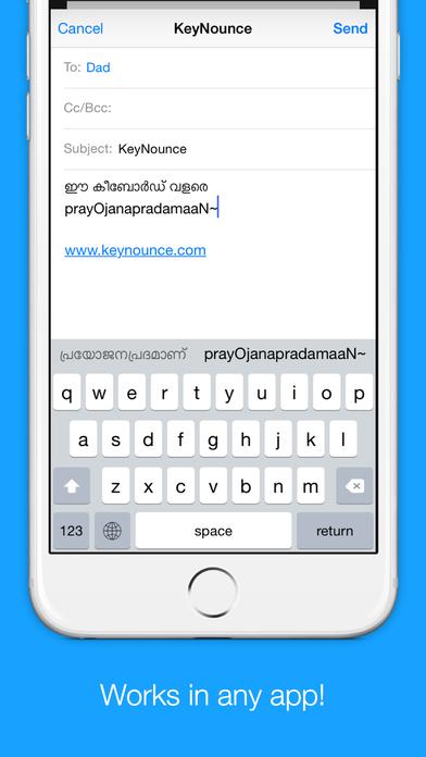 IPhone ऐप / आईपैड / आइपॉड के लिए निशुल्क Malayalam Transliteration Keyboard by KeyNounce ऐप्स screenshot
