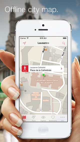 City Guide Lausanne – Offline map with numerous tips on sights hotels restaurants and events