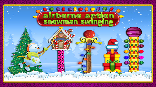 Airborne Action Snowman Swinging : Christmas Lights Tight-Rope Swing Time FREE