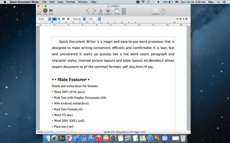Quick Document Writer Screenshot - 1