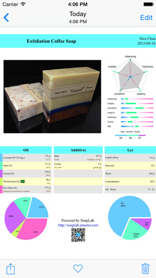 SoapLab - tutorial recipe design management report and lye calculator of handmade soap