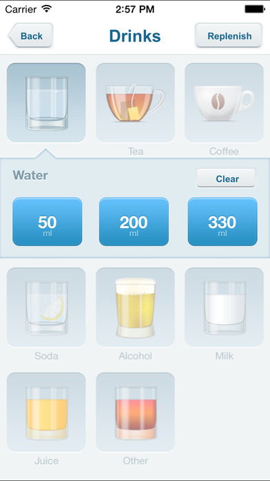 Screenshots of Waterbalance for iPhone