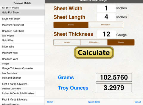 Precious Metal Calculators iPad Screenshot 2