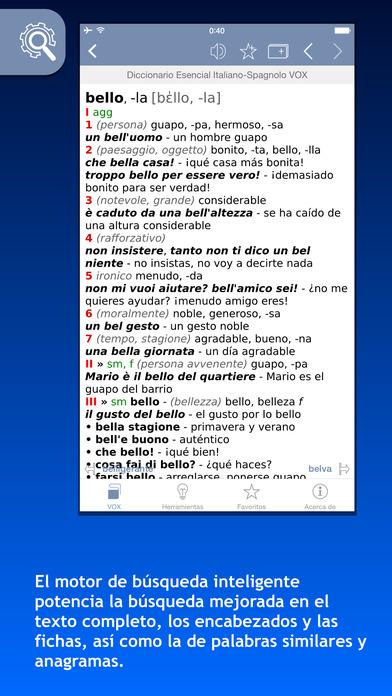 VOX Italian <-> Spanish Dictionary iPhone Screenshot 1