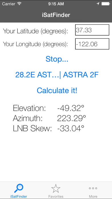 iSatFinder iPhone Screenshot 1