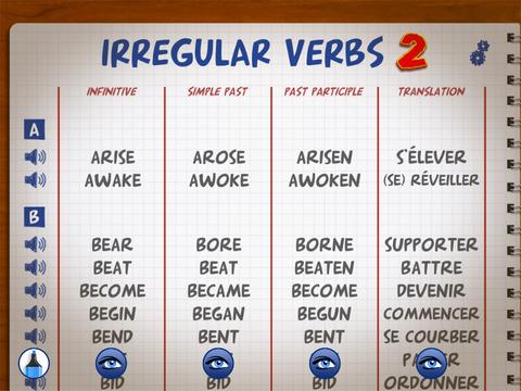 Irregular Verbs Easy 2 iPad Screenshot 1
