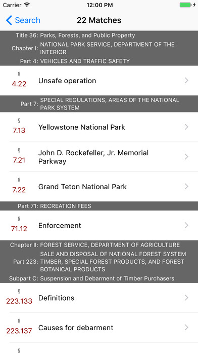 Title 36 Code of Federal Regulations - Parks, Forests, and Public Property iPhone Screenshot 5