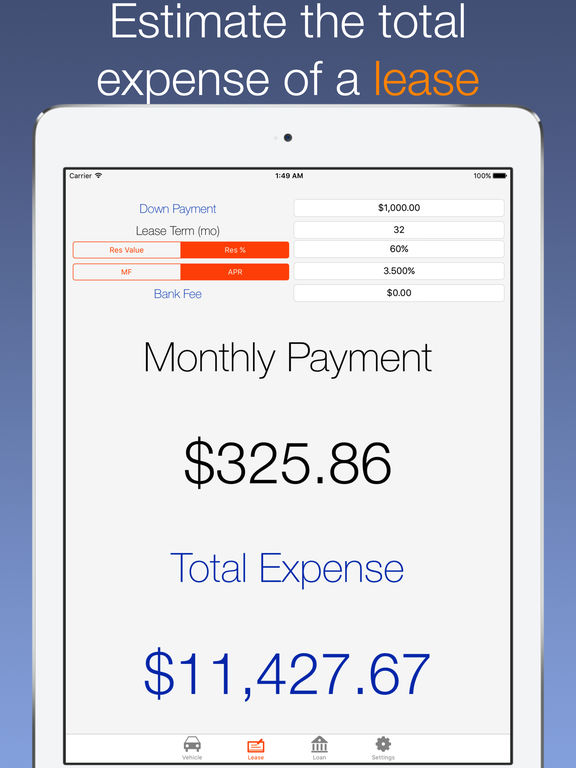 Car Payment Calculator Auto Lease and Loan Calc on the App Store – Lease Payment Calculator