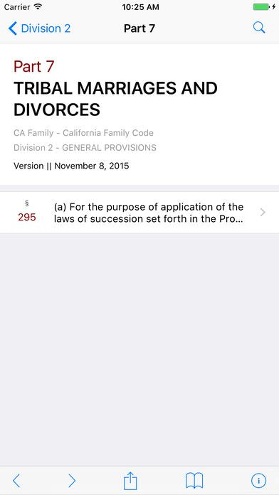 California Family Code (CA Law) iPhone Screenshot 2