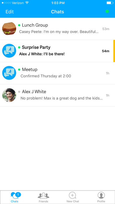 Screenshots of AIM: Chat, Free Text, Photo Share, Voice Message for iPhone