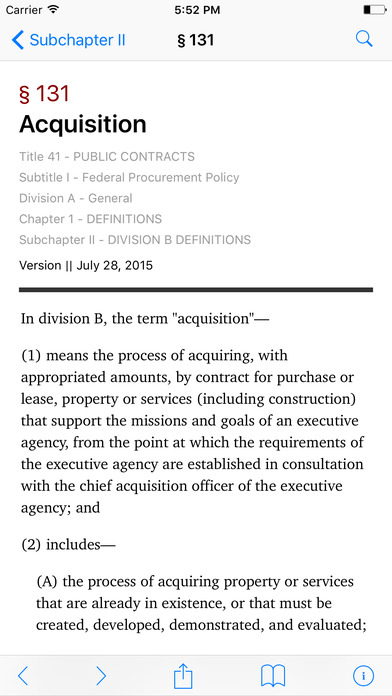 Public Contracts (Title 41 United States Code) iPhone Screenshot 2