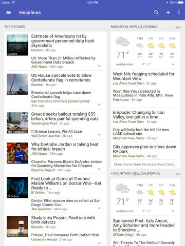 Google Новости и погода Screenshot