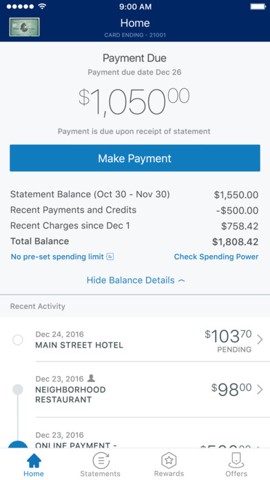 American Express iPhone Screenshot 1