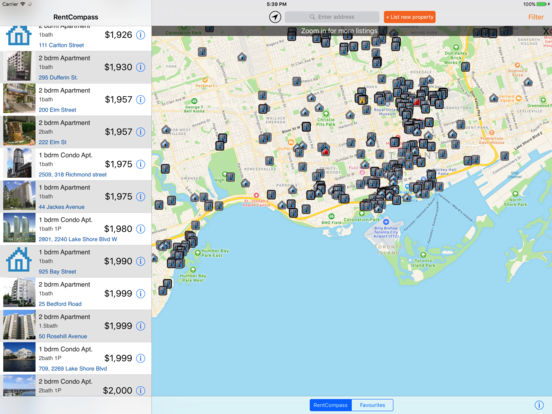 Apartment Rentals Search iPad Screenshot 1