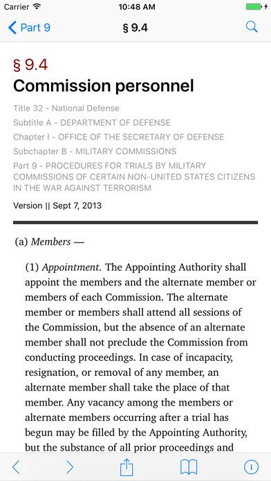 Title 32 Code of Federal Regulations - National Defense iPhone Screenshot 2