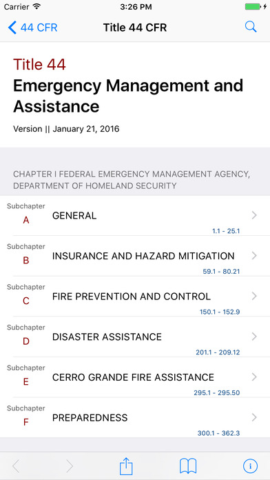 Title 44 Code of Federal Regulations - Emergency Management and Assistance iPhone Screenshot 1