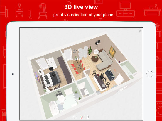 Roomle 3d room planner for home office designs on the for 3d room planner ipad