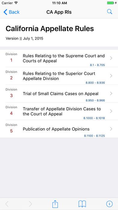 California Appellate Rules iPhone Screenshot 1