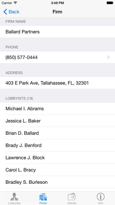 FL Lobbyist Directory iPhone Screenshot 4