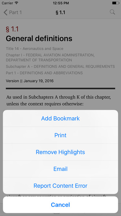 Aeronautics and Space (Title 14 Code of Federal Regulations) iPhone Screenshot 3