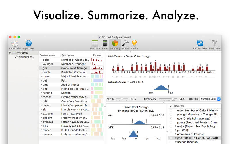 Screenshot #1 for Wizard - Statistics, Visualization, Data Analysis