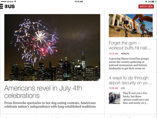 CBS News iPad Screenshot 1