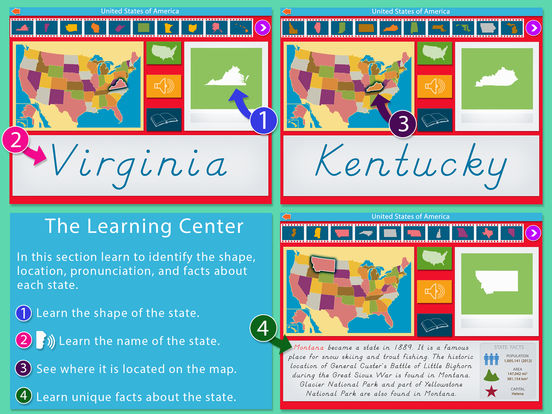 Montessori Approach To Geography HD - United States of America iPad Screenshot 2