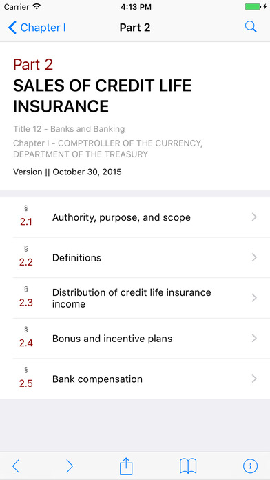 Title 12 Code of Federal Regulations - Banks and Banking iPhone Screenshot 2