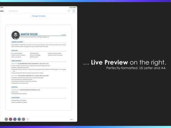 Resumes by Nobody - Resume Builder, 25 Templates Screenshot