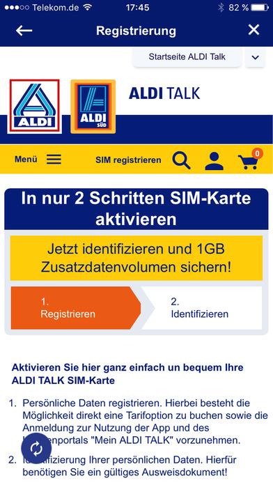 ALDI TALK Aktivierung screenshot 2