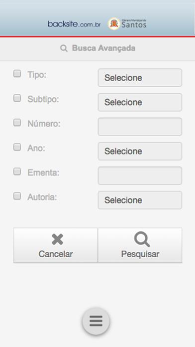 Screenshot of Consulta Legislativa Santos App