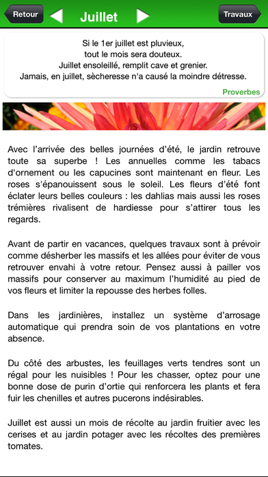 Calendrier des travaux du jardin app report on mobile action for Calendrier travaux jardin