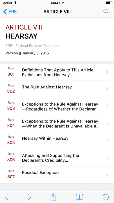 Federal Rules of Evidence (FREvidence) iPhone Screenshot 2