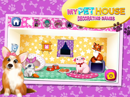 App shopper my pet house decorating game s animal home for Animals decoration games