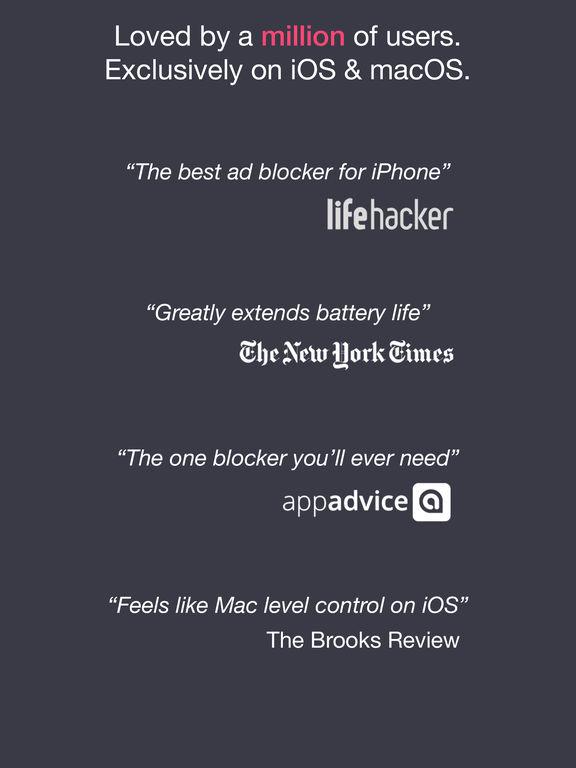 Block ads, trackers & more with 1Blocker Screenshot