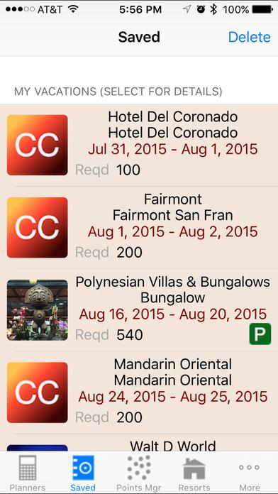 DVC Planner iPhone Screenshot 2