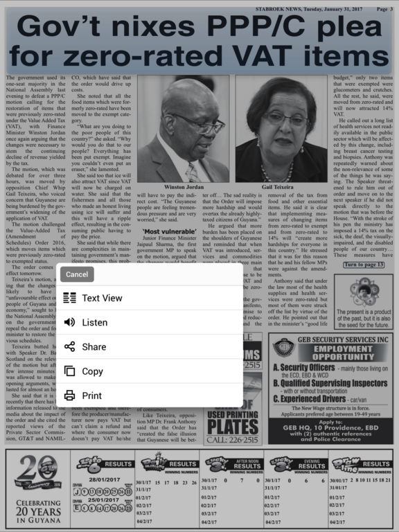 Stabroek news paper