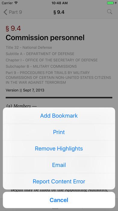 Title 32 Code of Federal Regulations - National Defense iPhone Screenshot 3