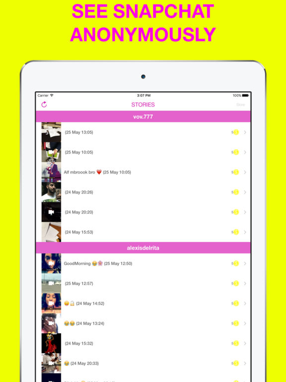 Screenshots of Stories Upload Anonymous and Score for Snapchat for iPad