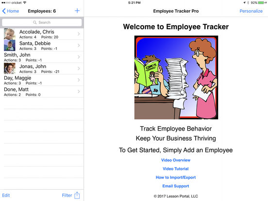 Employee Tracker Lite iPad Screenshot 1