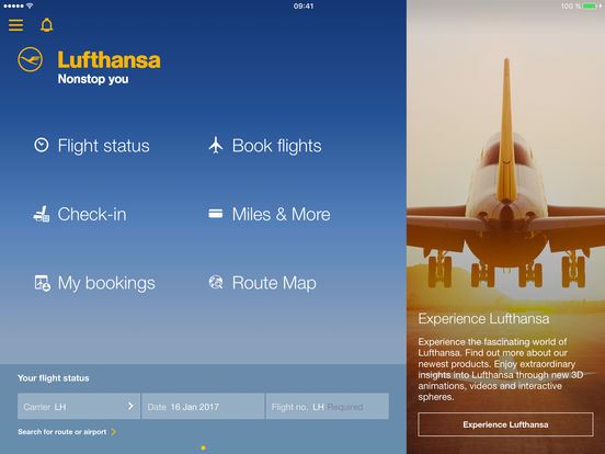 Lufthansa iPad Screenshot 1